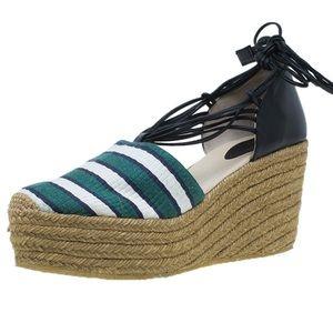 Chloe Green & White Striped Espadrille Wedge- Sz 9